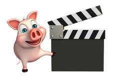 милый персонаж из мультфильма свиньи с clapboard Стоковое Изображение RF