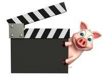 милый персонаж из мультфильма свиньи с clapboard Стоковая Фотография