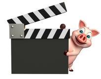 милый персонаж из мультфильма свиньи с clapboard Стоковая Фотография RF