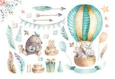 Милый питомник младенца на воздушном шаре изолировал иллюстрацию для детей Медведь богемской акварели богемские, hipo кота и олен
