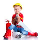 Милый пожарный малыша Стоковые Изображения RF