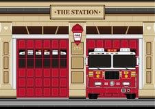 Милый пожарный шаржа - пожарная машина Стоковые Фотографии RF