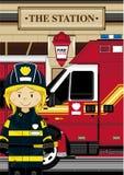 Милый пожарный шаржа - пожарный Стоковые Фотографии RF