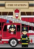 Милый пожарный шаржа - пожарный Стоковое фото RF
