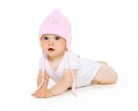 Милый прелестный младенец в шляпе стоковые изображения