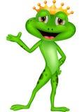 Милый представлять шаржа лягушки принца Стоковая Фотография RF