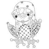 Милый принц лягушки в шляпе рождества Эскиз вектора иллюстрация вектора