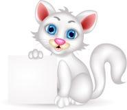 Милый пушистый белый шарж кота с пустым знаком иллюстрация вектора