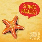 Милый плакат лета - морская звёзда океана на пляже бесплатная иллюстрация