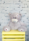 Милый плюшевый медвежонок в комнате детей Стоковые Фотографии RF