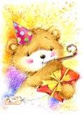милый плюшевый медвежонок игрушки и поздравительая открытка ко дню рождения предпосылка Стоковое Фото