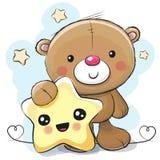 Милый плюшевый медвежонок шаржа с звездой иллюстрация штока