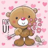 Милый плюшевый медвежонок шаржа с цветком бесплатная иллюстрация