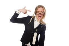 Милый работник офиса держа телефон изолированный Стоковое Фото