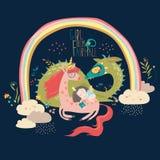 Милый дракон шаржа, единорог и маленькая принцесса иллюстрация вектора