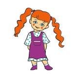 Милый ребёнок усмехаясь, милый ребёнок в платье точки польки, T-shi иллюстрация штока
