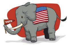 Милый республиканский слон держа вымпел для американских избраний, иллюстрацию вектора Стоковая Фотография