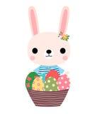 Милый розовый зайчик пасхи с красочными яичками Иллюстрация вектора