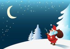 Милый Санта Клаус смотря луну Стоковые Изображения