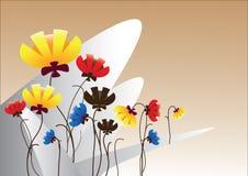 Милый сад цветков над бежевой предпосылкой стоковая фотография