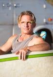 Милый серфер с Surfboard Стоковое Изображение