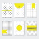 Милый серый и белый ультрамодный комплект карточек картин с желтыми ярлыками Стоковые Изображения