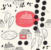 Милый сельский ландшафт с домами и предпосылкой деревьев нарисованной Grunge Стоковые Фото
