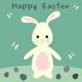 Милый симпатичный зайчик пасхи шаржа с иллюстрацией поздравительной открытки пасхи яичек счастливой Стоковое Фото