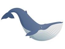 Милый смешной синий кит бесплатная иллюстрация