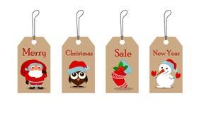 Милый смешной снеговик, owlet в шляпе рождества, пустой носок рождества с ягодой падуба и Санта Клаус с сумкой полной подарков иллюстрация штока