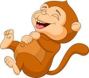 Милый смеяться над шаржа обезьяны иллюстрация штока