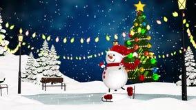 Милый снеговик катаясь на коньках в парке акции видеоматериалы