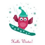 Милый сноубординг маленького сыча на горе карточка 2007 приветствуя счастливое Новый Год Стоковые Фото