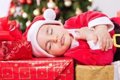 Милый спать младенец santa Стоковая Фотография RF