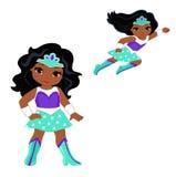 Милый супергерой девушки в полете и в положении стоя Стоковые Изображения RF