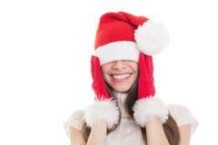 Милый счастливый девочка-подросток с большой шляпой Санты Стоковые Фото
