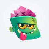 Милый счастливый персонаж из мультфильма головы зомби показывая язык и усмехаться также вектор иллюстрации притяжки corel иллюстрация штока