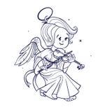 Милый счастливый smilingy ангел bab рождества играя скрипку иллюстрация вектора