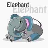 Милый слон на белой предпосылке также вектор иллюстрации притяжки corel Стоковое Изображение