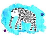 Милый слон на голубой предпосылке акварели иллюстрация вектора