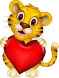 Милый тигр младенца представляя с влюбленностью сердца иллюстрация вектора