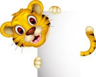 Милый тигр младенца представляя с знаком иллюстрация вектора