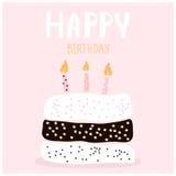 Милый торт с желанием с днем рождений шаблон архива eps 8 карточек приветствуя включенный Творческая предпосылка с днем рождений  бесплатная иллюстрация