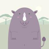 Милый тучный большой носорог Стоковые Изображения RF