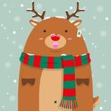 Милый тучный большой северный олень Rudolf Стоковые Фотографии RF