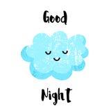 Милый усмехаться облака спокойная ночь карточки Плоский стиль также вектор иллюстрации притяжки corel бесплатная иллюстрация