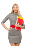 Милый учитель держа книги изолированный на белизне Стоковая Фотография RF