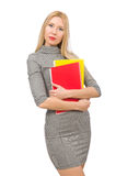 Милый учитель держа книги на белизне Стоковое фото RF
