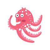 Милый удивленный характер осьминога пинка шаржа, смешная иллюстрация вектора кораллового рифа океана животная Стоковые Изображения RF
