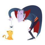 Милый характер вампира Дракула шаржа Стоковые Изображения RF
